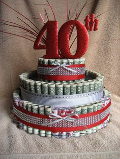 "Check out MONEY CAKE A ""40TH Celebration"" A Fun Unquie Way to Give Money as a Gift to Celabrate those Special Occasions on creativecreationsmc"