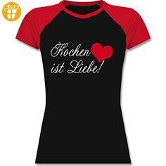 Küche - Kochen ist Liebe - XXL - Schwarz/Rot - L195 - zweifarbiges Baseballshirt / Raglan T-Shirt für Damen - Shirts mit spruch (*Partner-Link)