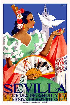 "Vintage 1952 classic poster announcing the annual Seville Festival which is held in the Andalusian capital in Spain every year. ""Seville April Fair"",Andalusia,seville,spain,flamenco,sevilla,""poster art"",""vintage poster"",festival, andalusia, easter, fiesta, sevillana, tapas,spanish,travel,tourism,feria,semana santa,fiesta,spring"