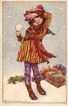 Ill. Bompard - Bambini Pretty Glamour Children, Natale Xmas - Viaggiata - B027/B