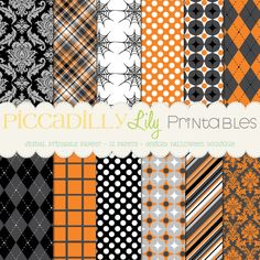 Halloween Boutique -- 12x12 Digital Printable Scrapbook Paper Pack Black Gray White Orange -- Buy 3 Digital Paper Packs Get 1 FREE $6