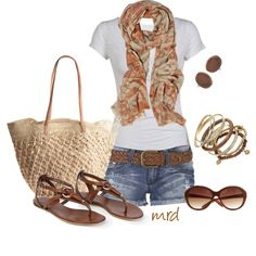 Denim shorts, white tee, light summery scarf, gold & brown bracelets, brown sandals, large neutral tote.