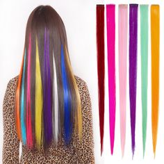 3 Pcs Hair Straight Clip Colorful Synthetic  In Extension On Cosplay  Braiding Anime  Barber Accessories  Hair Piece M02941