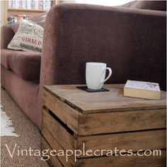 Wooden Storage Box with Lid hand made from a genuinely used Vintage Apple Crate. Great as a Side Table, Toy Box or Storage Crate indoors or outdoors! Wooden Crates For Sale, Wooden Crates With Lids, Wooden Crates Table, Wooden Storage Crates, Rustic Wooden Box, Crate Storage, Wooden Boxes, Extra Storage, Apple Crate Shelves