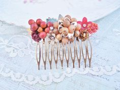 Summer Berries Vintage Collage Hair Comb - Vintage Repurposed Upcycled Jewlery Hair Comb - Wine and Red Floral Hair Comb,Bridal. $34.00, via Etsy.