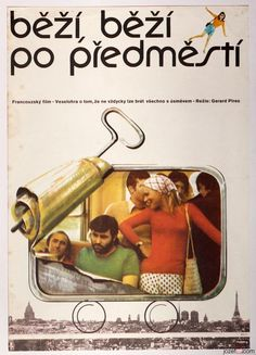 Vintage Posters Auction / £0.99 / This TUESDAY 01.11.2016 / Magical Movie Posters from Czechoslovakia for Everyone !! / THE SUBURBS ARE EVERYWHERE movie poster designed by Miroslav Hrdina, Czechoslovakia, 1975. #postersale #graphicdesign