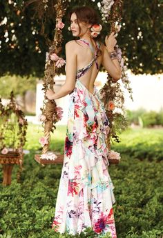 Bridesmaid Dresses - Flower Print Prom Dress with Ruffle Back from Camille La Vie and Group USA