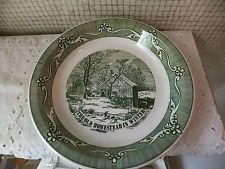 """VINTAGE Royal China Currier & Ives Pie Plate  GREEN """"Old Homestead in Winter"""""""