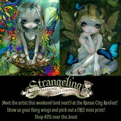 I'll be there in person this weekend & next at the Kansas City Renaissance Festival!  Come by our booth and show us your fairy wings - you can pick out a free 4x6 art print!  Let us know if you are one of my Patreon patrons too - you can pick a free 4x6 print too!  We are at Strangeling: The Art of Jasmine Becket-Griffith - shop #251 - right over by the Joust. I myself will be there in person at the KC Renfest on October 1, 2, 8 & 9, and I will be painting at my easel =)  Going to paint a…