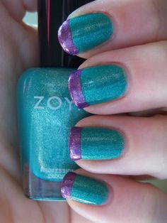Things That Are Purple in Color | Teal and Purple Color Block French Manicure