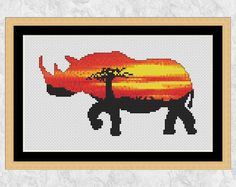 Rhinoceros cross stitch pattern PDF, sunset rhino counted cross stitch chart, African wild safari animal, sunrise, silhouette, printable pattern by Climbing Goat Designs