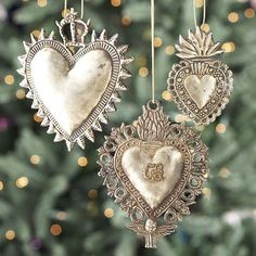 Ornate Christmas tree ornaments, silver hearts