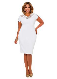 2b5f6bf14d4 Lace Yoke Cap Sleeve Dress-Plus Size Dresses-Ashley Stewart