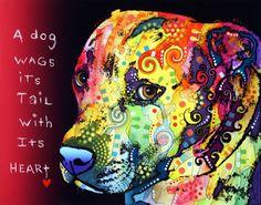 "Gratitude Pitbull by Dean Russo ... 11 x 14"" Acrylic ,Ink, Aerosol, and Pencil Custom, Pop Art, One-of-a-kind original piece"