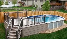 Popular Above Ground Pool Deck Ideas. This is just for you who has a Above Ground Pool in the house. Having a Above Ground Pool in a house is a great idea. Tag: a budget small yards Oval Above Ground Pools, Above Ground Swimming Pools, In Ground Pools, Deck Ideas For Above Ground Pools, Above Ground Pool Stairs, Rectangle Above Ground Pool, Above Ground Pool Landscaping, Backyard Pool Landscaping, Backyard Ideas