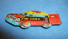 Fire Chief tin lithographed whistle, Cracker Jack prize