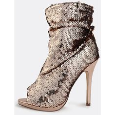 Metallic Peep Toe Sequin Booties ROSE GOLD ($48) ❤ liked on Polyvore featuring shoes, gold, heels stilettos, rose gold metallic shoes, peeptoe shoes, stiletto high heel shoes and peep-toe shoes