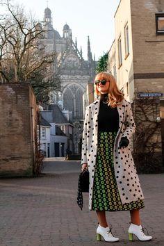 jacquard lime skirt polka dots coat