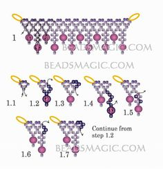 Free pattern for necklace Musk (Beads Magic) Beaded Necklace Patterns, Seed Bead Patterns, Beading Patterns Free, Free Pattern, Beading Projects, Beading Tutorials, Super Duo Beads, Necklace Tutorial, Bead Jewellery
