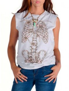 """Women's """"Anatomy"""" Sleeveless Muscle Tee by Angry Blossom (Vintage White)"""