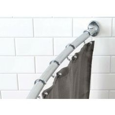 Extends from Fits any standard tub. Provides more shower space, reduces curtain cling. Cool Shower Curtains, Shower Curtain Rods, Bathroom Hooks, Small Bathroom, Bathrooms, Shower Rods, Curtain Designs, Curtain Ideas