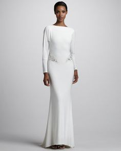 Long-Sleeve Jersey Gown by Mark + James by Badgley Mischka at Neiman Marcus.