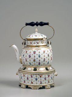 Tea kettle on stand  Clignancourt Porcelain Works, France  Porcelain, enamel, brass, wood, 1775-90