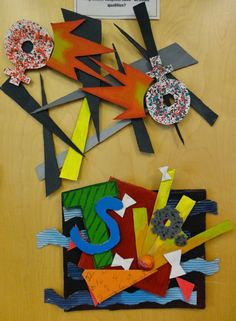 Frank Stella inspired shaped canvases art project
