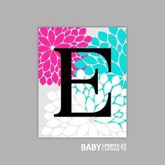 Personalized Baby Girl Nursery art print Monogram