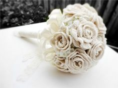 Ivory wedding bouquet bridal bouquet hand crochet with vintage pearls and lace via Etsy