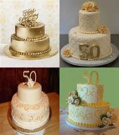 Popular 50th Wedding Anniversary Cakes Topper with Gold Colors