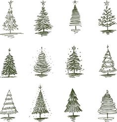 The vector drawing of a christmas trees in style of a sketch. Funny Christmas Tree, Christmas Tree Painting, Christmas Drawing, Xmas Tree, Christmas Art, Christmas Humor, Christmas Tree Ornaments, Christmas Tree Sketch, Vector Christmas