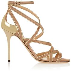 Jimmy Choo Vargo metallic leather and suede sandals (£288) ❤ liked on Polyvore featuring shoes, sandals, gold, ankle wrap sandals, ankle tie sandals, high heel sandals, suede shoes and ankle strap high heel sandals