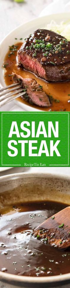 This Asian Steak is outrageously good yet ridiculously simple. A magical 5 ingredient Asian Steak sauce inspired by the great Tetsuya that will have you doing the happy dance and licking the plate - possibly both Steak Recipes, Cooking Recipes, Recipetin Eats, Bbq, Beef Dishes, Food For Thought, Asian Recipes, Main Dishes, The Best
