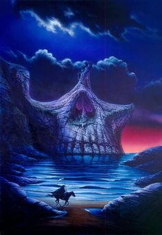 Garry Walton Solid-Faced Canvas Print Wall Art Print entitled Skull Point, None Dark Fantasy Art, Dark Art, Grim Reaper Art, Badass Skulls, Skull Pictures, Skull Artwork, Arte Obscura, Skulls And Roses, Skull Tattoos