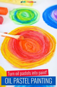 Make paint from oil pastels plus oil Art Lessons For Kids, Art Activities For Kids, Color Activities, Art For Kids, Playgroup Activities, Oil Pastel Paintings, Oil Pastel Art, Oil Pastel Drawings, Watercolor Paintings