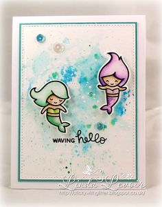 Hello! I'm dropping by with a sweet and simple card I made using the Lawn Fawn Stamp Set Mermaid for You I coloured 2 of the mermai...