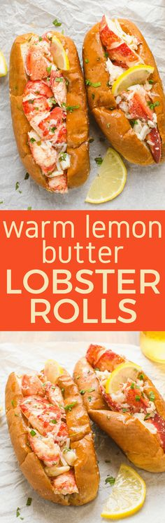 As classic lobster rolls go, you've got several choices such as a New England Style lobster roll with celery and mayonnaise or as a delicious alternative these Warm Lemon Butter Lobster Rolls (aka Connecticut-style lobster rolls). Both rely on simple, una Lobster Recipes, Fish Recipes, Seafood Recipes, Great Recipes, Cooking Recipes, Favorite Recipes, Special Recipes, Spicy Recipes, Family Recipes