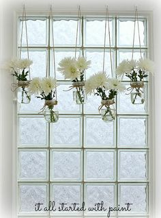 Mason Jar Window Treatment.  By It All Started With Paint.