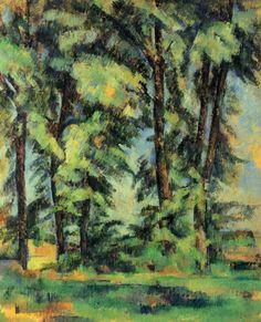 Paul Cézanne.  Hohe Bäume im Jas de Bouffan. 1885-1887, Öl auf Leinwand, 73 × 59 cm. Privatsammlung. Landschaftsmalerei. Frankreich. Postimpressionismus.  KO 01104