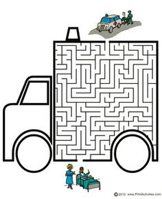 Vehicle Maze of an ambulance. Maze Games For Kids, Craft Activities For Kids, Preschool Worksheets, Kindergarten Activities, Mazes For Kids Printable, Contexto Social, Maze Worksheet, People Who Help Us, Maze Puzzles