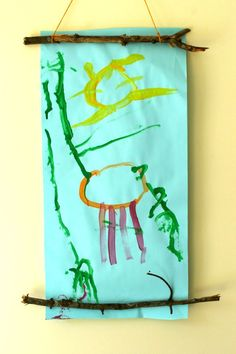 This is a cute way to display children's artwork - super simple, and easy to change! Plus it doesn't cost a penny!