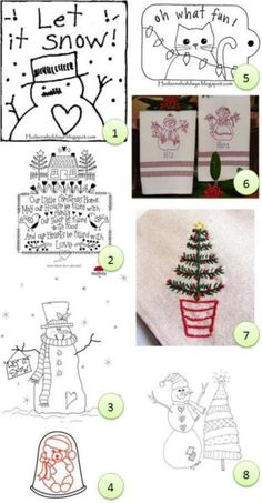(1) Let It Snow from Hudson's Holidays (2) Our Little Christmas Home from Red Brolly (3) Snowman digital stamp suitable for embroidery from Beyond the Fringe (via CraftGossip's stamping…
