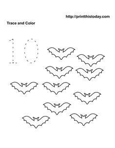 Number ten Halloween Math Worksheet