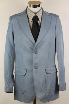 Angels Flight 2 Piece Suit Blazer Jacket Vest size 38R Baby Blue Tobias Kotzin #AngelsFlight #TwoButton
