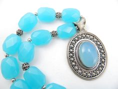 """Blue Chalcedony  Necklace, Aqua Blue, 22"""" with Large Ornate Chalcedony Pendant set in Sterling Silver, Bali Sterling Silver beads by JuvelerbyLinda on Etsy"""
