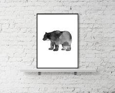 #Bear #Print, #Watercolor Bear Print, #Arctic Print, #Animal #Printable. Black and White Print, Grey Print by LuxeArtPrints on Etsy
