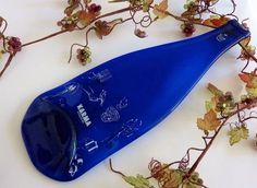 Blue slumped glass wine bottle cheese plate from by bprdesigns