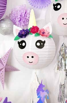 These DIY Unicorn Paper Lanterns make magical party decorations or cute additions to any unicorn themed bedroom or event! Make your own unicorn lanterns easily with my free printables. Unicorn Diy, Unicorn Crafts, Crafts For Teens To Make, Diy For Kids, Unicorn Birthday Parties, Unicorn Party, Paper Lantern Making, Paper Lanterns Party, Baby Dekor