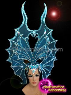 Butterfly Style Sequined Blue Custom Made Headdress With Contrasting Details Drag Queen Costumes, Drag Queen Outfits, Royal Colors, Headdress, Dance Wear, Custom Made, Contrast, Butterfly, Glamour